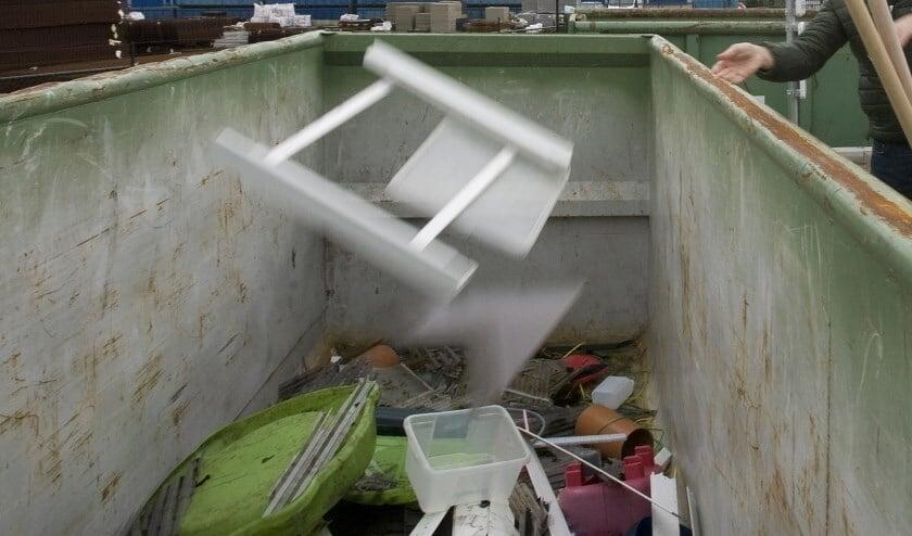Een container op de milieustraat in Oss.