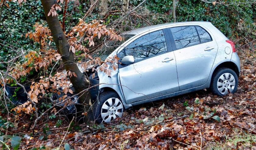 <p>De auto is in de berm tegen een boom terecht gekomen. (foto: SK-Media)</p>