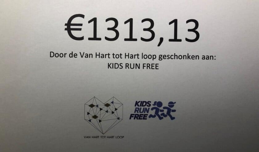 <p>Een mooi bedrag voor Kids run Free.&nbsp;</p>