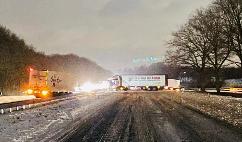 Vrachtwagen op de A50.