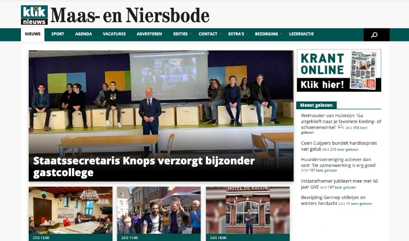 <p>Sinds deze week heeft De Maas en Niersbode ook een eigen nieuwspagina op Kliknieuws.nl.</p>