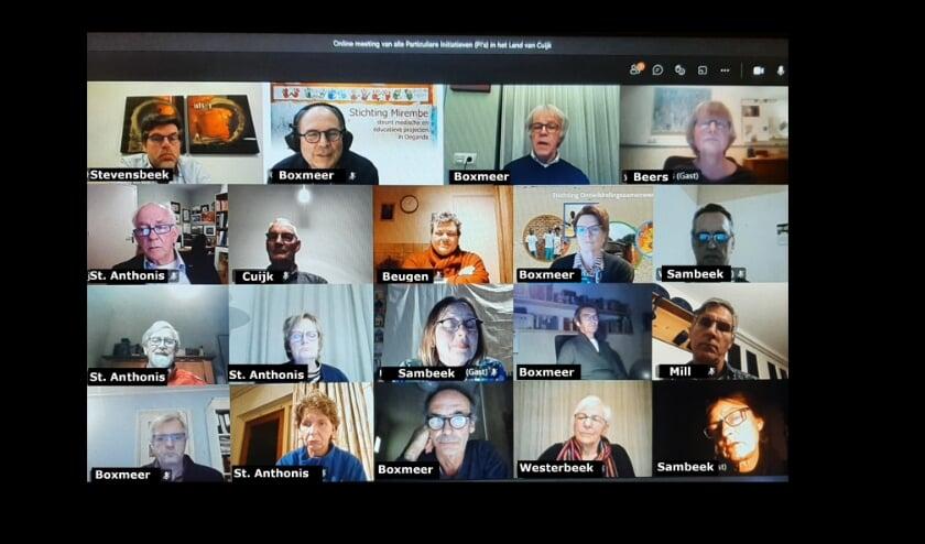 De deelnemers aan de online bijeenkomst over internationale samenwerking in het Land van Cuijk.