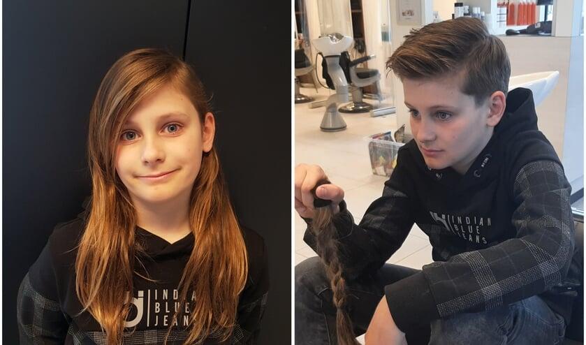 <p>Tom voor en na zijn bezoek aan de kapper.</p>
