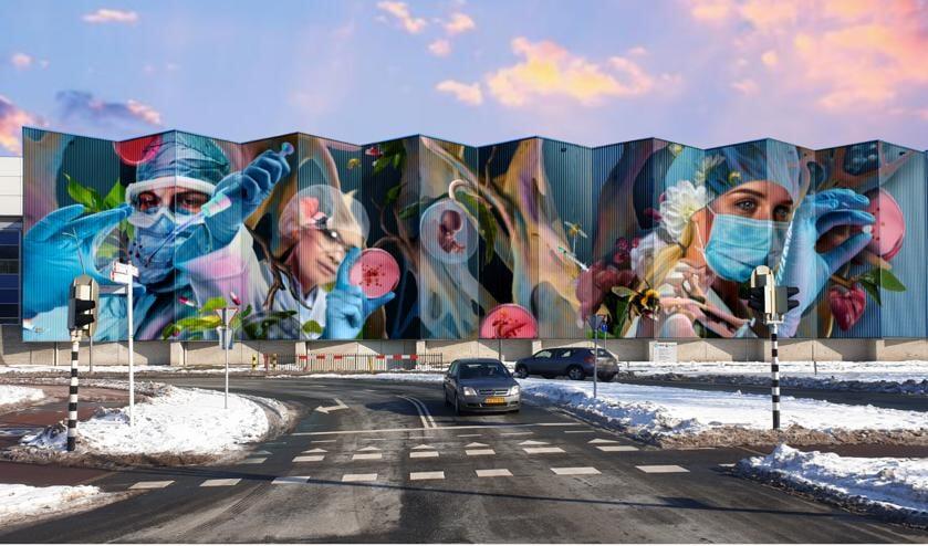 Muurschildering 'Trots van Oss' komt op blauwe wand van MSD