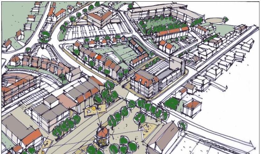 Een schets met de toekomstplannen voor het dorpshart van Sint Anthonis.