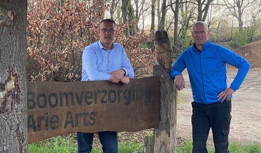 Jeroen van der Ven (links) en Arie Arts staan garant voor de beste kwaliteit in boomverzorging.