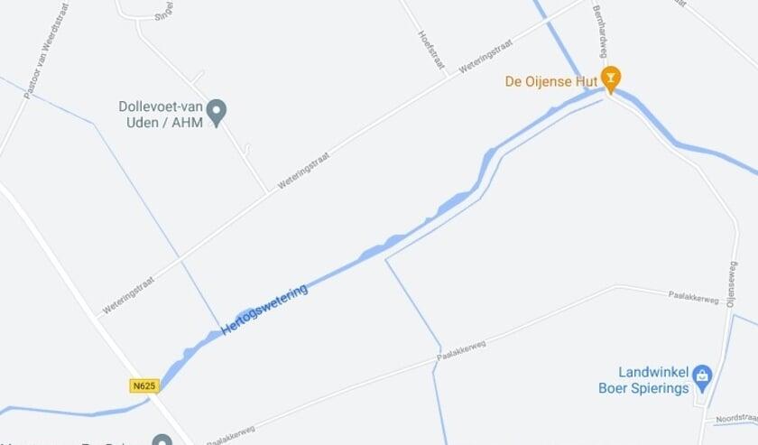 <p>Kaart noordzijde van de Hertogswetering tussen de Kennedybaan en de Bernhardweg.</p>