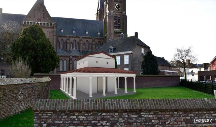 Zo moet de Romeinse tempel in Cuijk eruit komen te zien.
