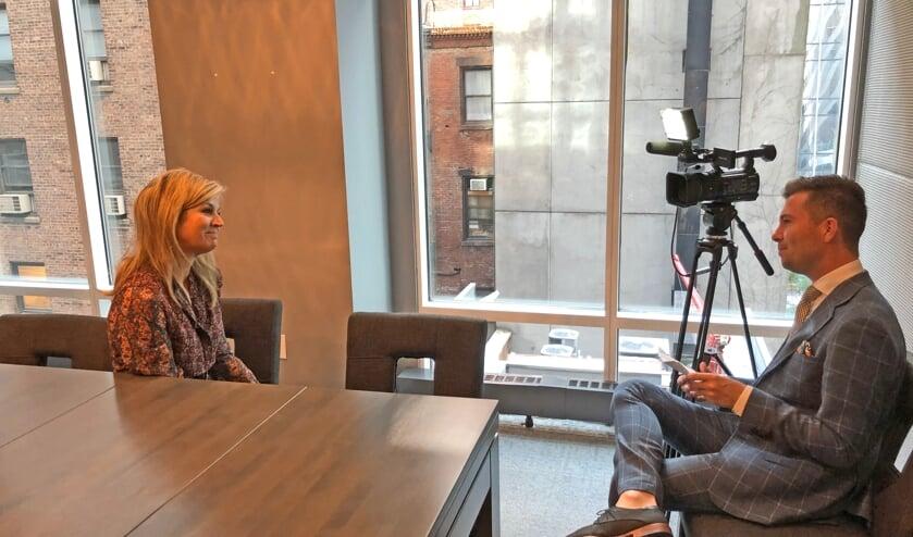 <p>Erpenaar Rick Evers interviewt Maxima in New York in 2019.</p>