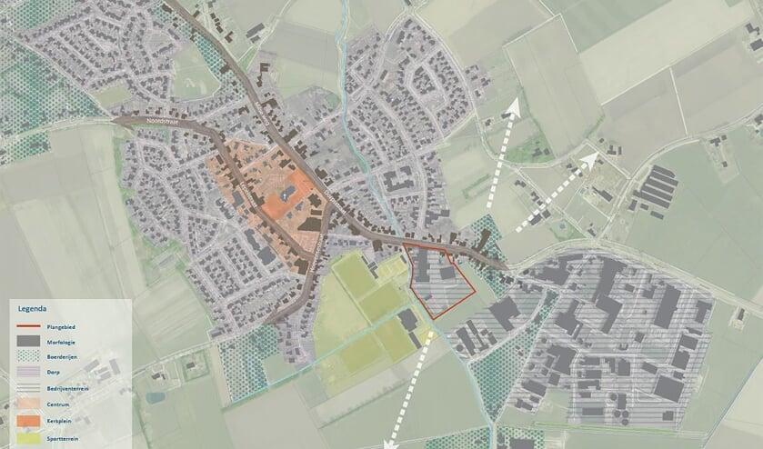 Het plangebied. In rood omlijnd een aanduiding van het plangebied binnen Wanroij.