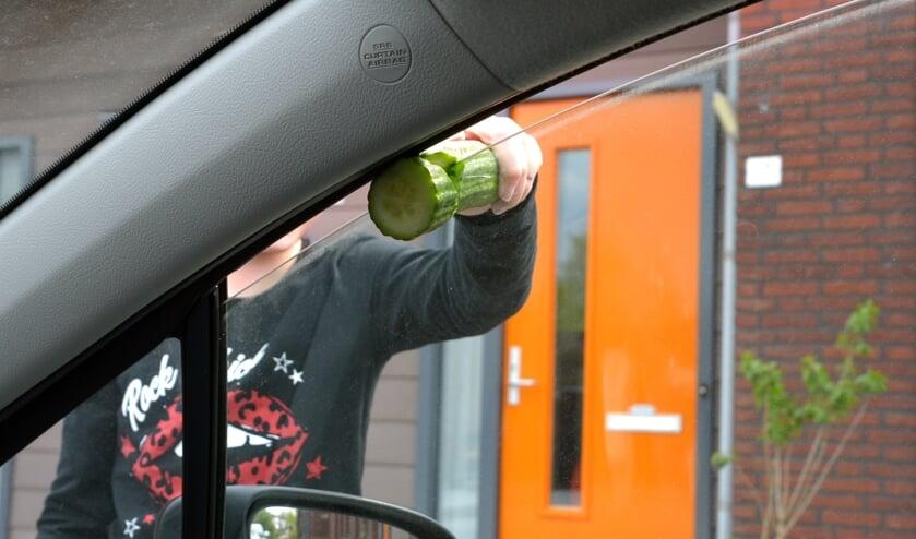 <p>Henk deed een test met een komkommer. (foto: Henk Lunenburg)</p>