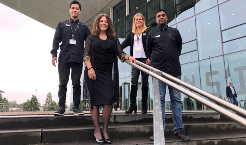 Danny Phan, Gabrielle van der Burg, Nicole Smit en Sahier Bhageloe zijn helemaal op hun plek bij de gemeente Lansingerland. (Foto: Denise Quik)