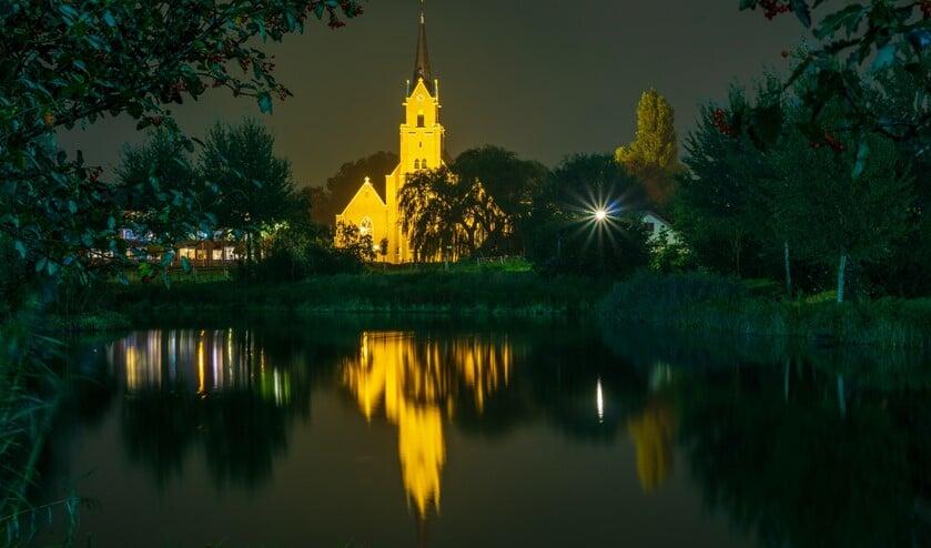 <p>De Berkelse Onze Lieve Vrouw Geboortekerk in het donker. (Foto: Maartje Teunisse)</p>