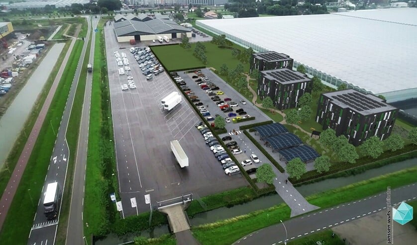 <p>De gevisualiseerde huisvestingslocatie op de hoek van de Laan van Mathenesse en de Violierenweg in Bleiswijk.</p>