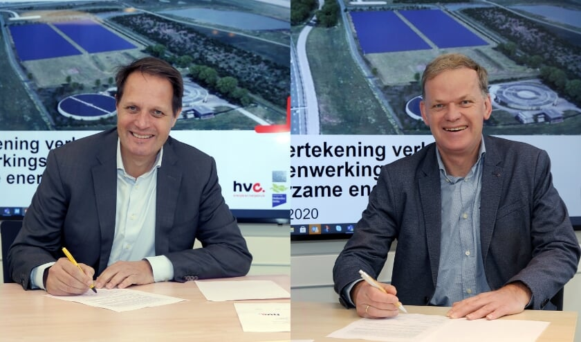 <p>Arjan ten Elshof (HVC) en rechts Leo Stehouwer (waterschap Hollandse Delta). (foto; Rob Kamminga)</p>