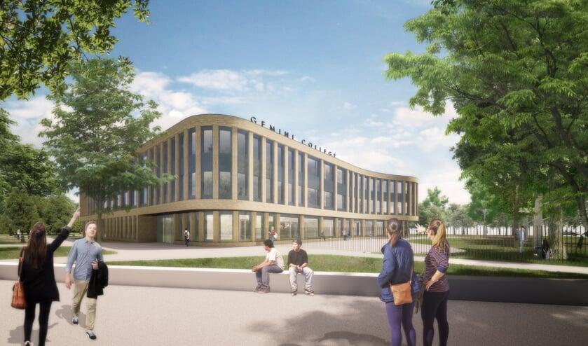 <p>Het toekomstbeeld voor het Gemini College in Ridderkerk. Dit gebouw wordt gebouwd op het voormalige hoofdveld van voetbalvereniging RVVH.&nbsp;</p>