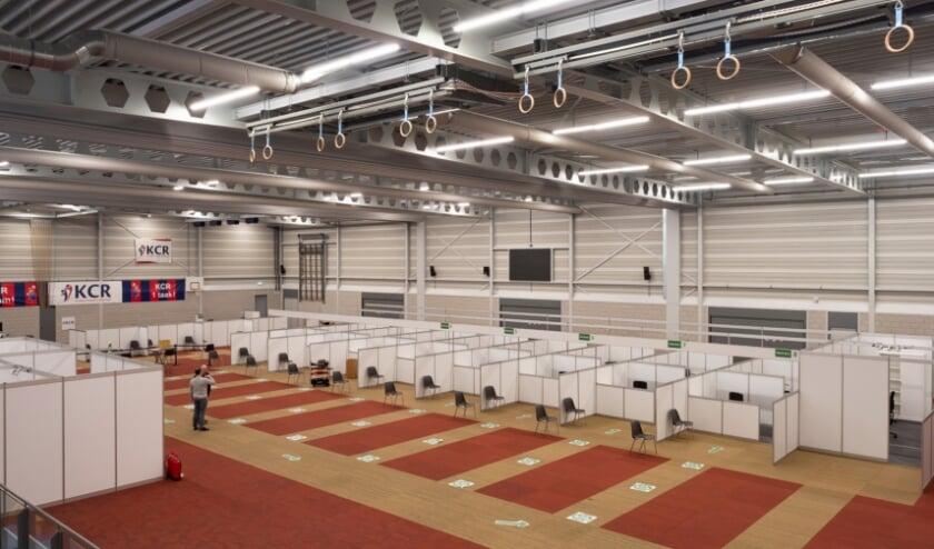 <p>In sporthal De Wissel worden de prikplekken al in orde gemaakt</p>
