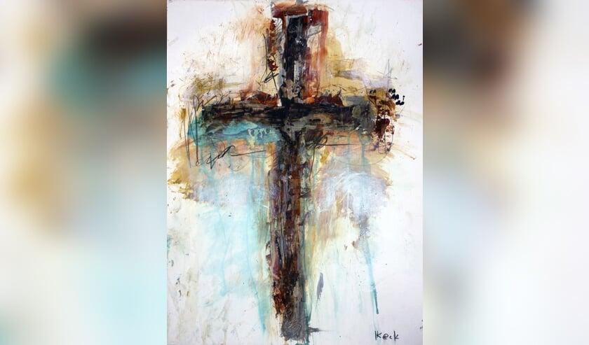 <p>Het thema, Reacties op Jezus&rsquo; lijden, belicht met een Cross Art Painting van Michel Keck</p>