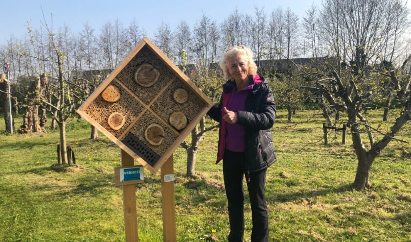 <p>Myriam B&ouml;rger is blij met het bijenhotel.</p>