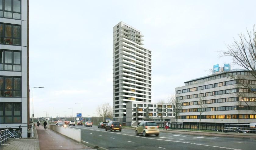 Een artist impressie van de torenflat die moet verrijzen op de hoek van de Engelendaal en de Oude Spoorbaan.