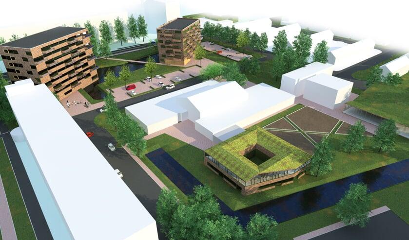 Een impressie van hoe de bebouwing op de Driemasterlocatie gepositioneerd wordt. Hoe de gebouwen er precies uit gaan zien, is nu nog niet bekend.