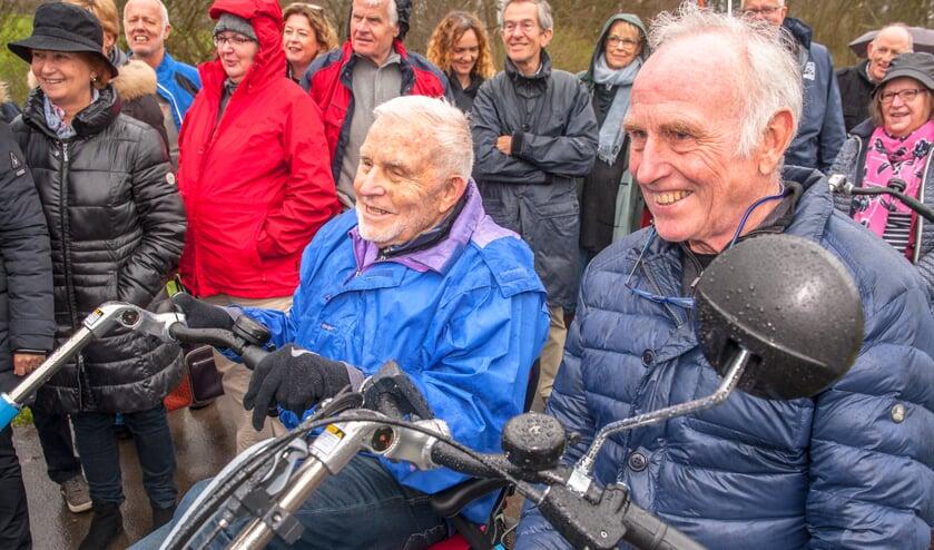 Jan Pool (links) en Joop Zoetemelk samen op de duofiets.