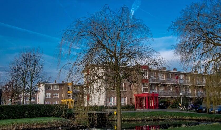 De flatgebouwen aan de Pinksterbloem.