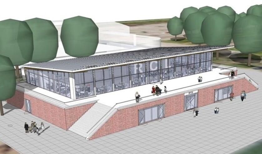 Een artist's impression van het nieuwe clubgebouw van RCL, dat  eind dit jaar klaar moet zijn.