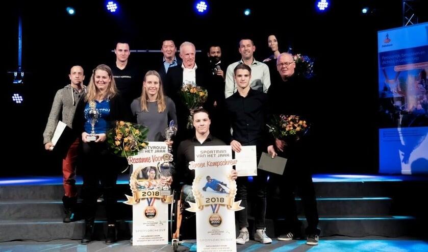 Alle winnaars van de Leiderdorpse sportverkiezingen bij elkaar.