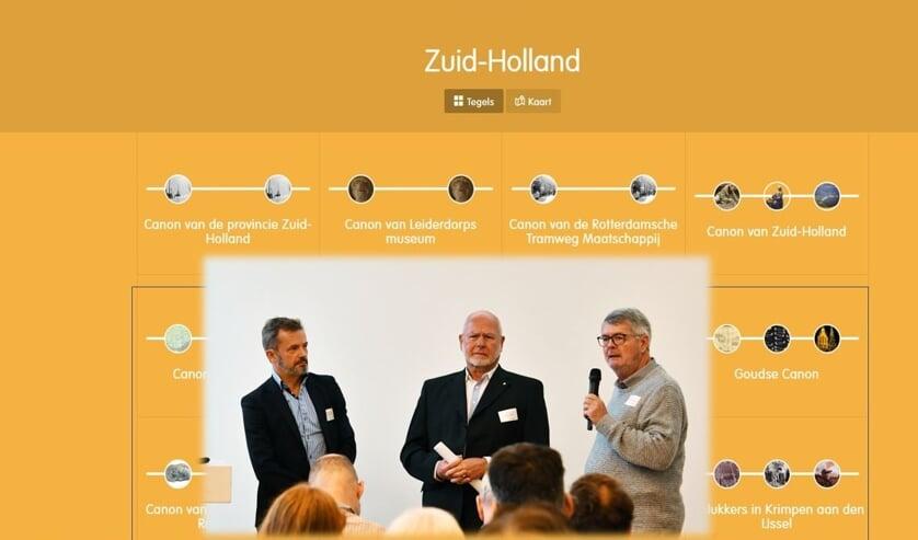 Een beeld van de website met bestuursleden Diebels (links)en Gerrese (midden)van het Leiderdorps Museum.