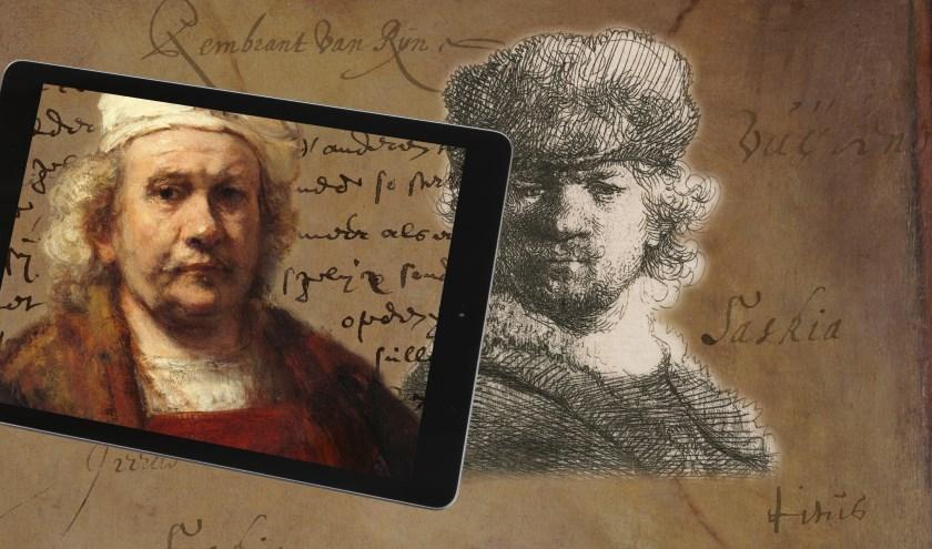 Twee zelfportretten van Rembrandt van Rijn.