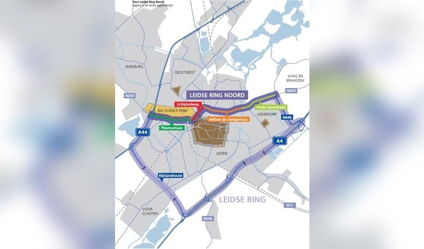 De Oude Spoorbaan (rechtsbovenaan, lichtgroen gemarkeerd) wordt onderdeel van de Leidse Ring Noord.