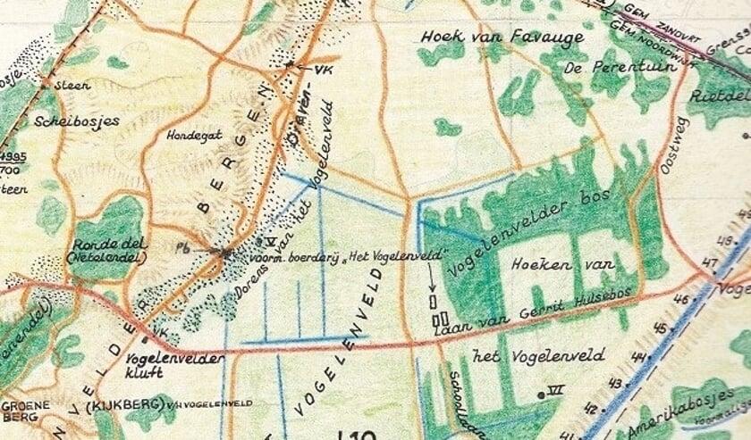 Detail getekende kaart AWD door F.P. van den Berg.   Foto: Oud de Zilck
