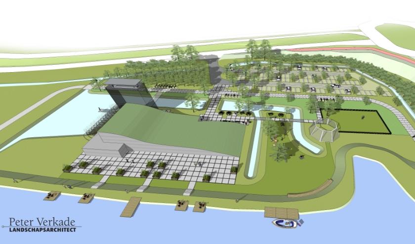 Het ontwerp voor het 'belevingscentrum Groene Hart, gezien van bovenaf. | Beeld: Peter Verkade