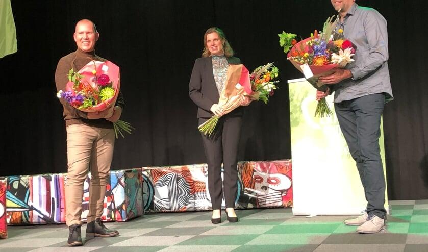 <p>De drie finalisten. Rechts Thomas &#39;de bloemist&#39; Clavaux.</p>