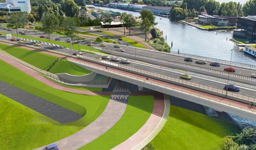 Naast de huidige Torenvlietbrug over de Oude Rijn komt een nieuwe brug. Daardoor zijn er straks twee vaste bruggen, voor iedere rijrichting één.   Foto: pr