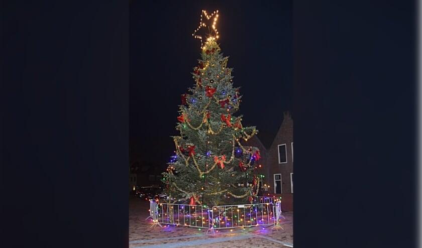 <p>De reusachtige kerstboom op de Turfmarkt staat er weer. | Foto en tekst: Piet van Kampen</p>