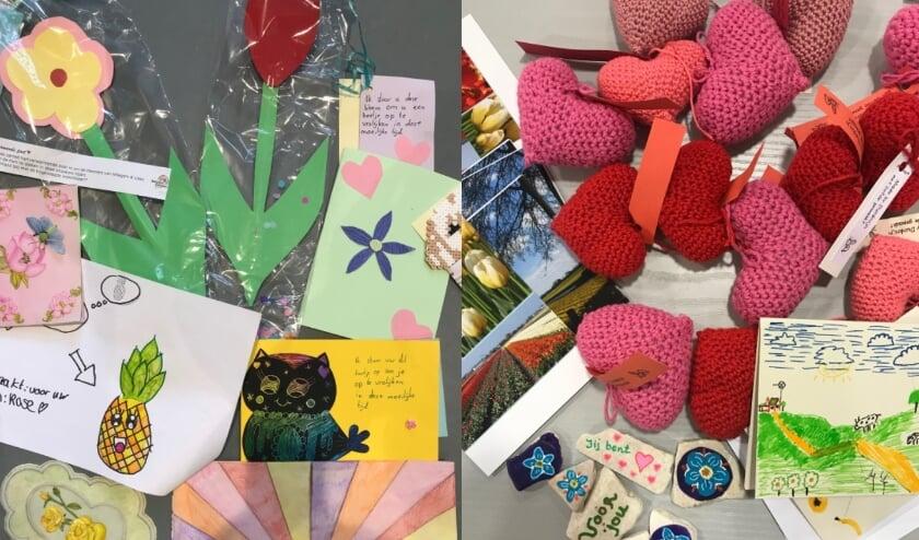 <p>Voorbeelden van knutselwerkjes, brieven en kaarten die inmiddels zijn bezorgd.</p>