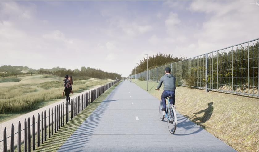 Impressie van het nieuwe fietspad langs de zuidduinen.   Visualisatie: gemeente Katwijk