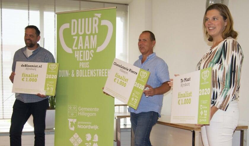 De finalisten voor de Duurzaamheidsprijs. v.l.n.r. Thomas Clavaux, Gert van Soest en Marjolijn Balk. (foto Van Dalen)