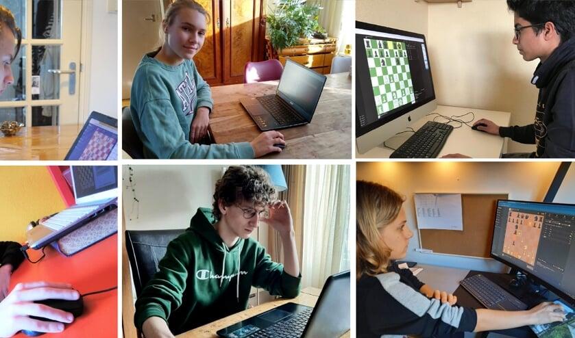<p>Een aantal van de schakers van het Stedelijk Gymnasium online aan het schaken. | Foto: PR</p>