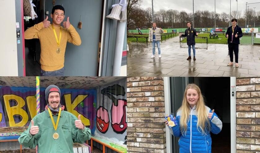 <p>De ontvangers van de Jongerenwaardering, vanaf linksboven met de klok mee: Juliano, Gijs, Ment en Jules van Alecto, Bo en Dennis. | Foto: PR</p>