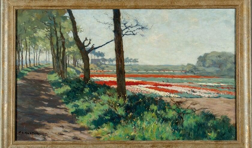 Anton Koster - Zandweg met bollenvelden
