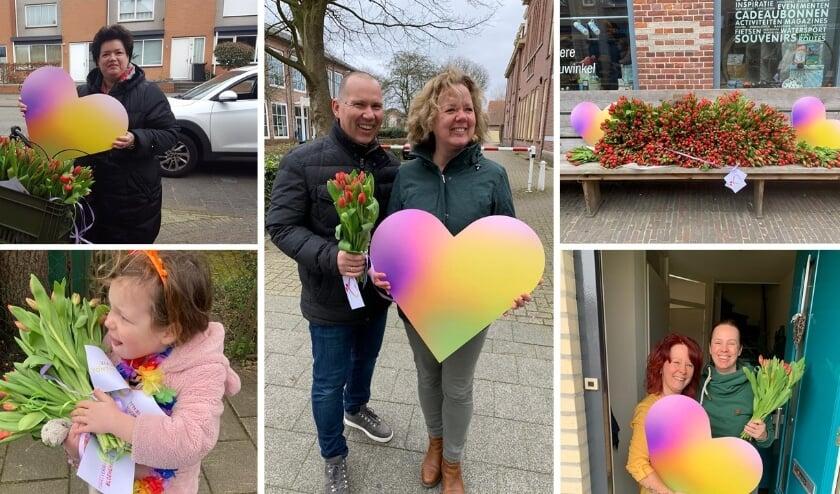 <p>In HIllegom kregen Gert - Pierre - en Karin van Soest (midden) een bloemetje. | Foto: pr.</p>