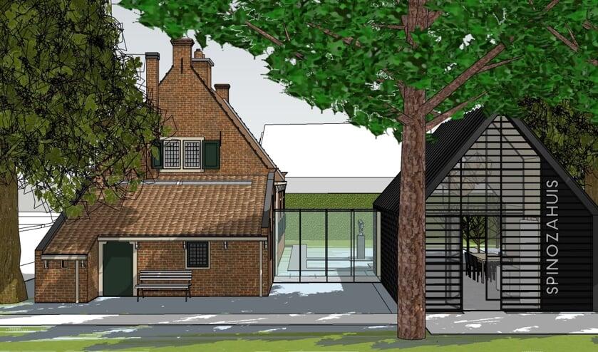 <p>Impressie nieuwbouw Museum Het Spinozahuis.   Foto: architectenburo Marcel van Dijk. </p>