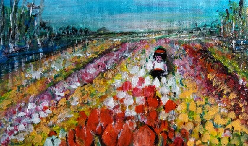 'Meisje in Bloembollenveld' van Annet van Gerven.
