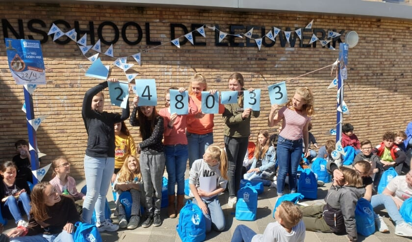 De groep 8 leerlingen tonen trots de opbrengst van hun sponsorloop: € 2.480,33. | Foto: PR