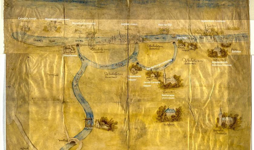 <p>Kaart van de stad 'Leijden' uit plm. 1522 door onbekende maker. | Bron: Stadsarchief Delft (Voor de leesbaarheid zijn de plaatsnamen in witte letters toegevoegd.)</p>
