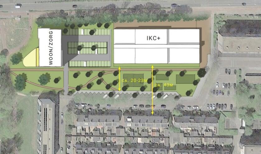 <p>Zo moet de nieuwe situatie van het Integraal Kindcentrum en het woonzorcomplex er uit gaan zien.   Foto: pr</p>