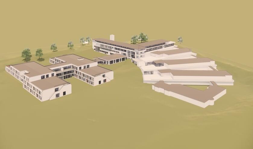 <p>De beoogde nieuwbouw voor de Huntingtonbewoners van Overduin, links op de illustratie.   Illustratie: Van den Berg Architecten Houten</p>